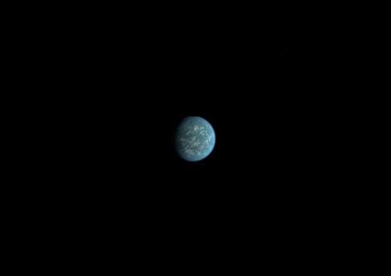 Une vue d'artiste de l'exoplanète, Kepler 22 - B (Crédits : NASA)